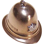 Vintage ENGLISH 9K Gold Charm - Policeman's Cap/Bobby's Hat!