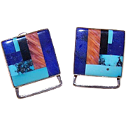Vintage STERLING SILVER Earrings with Multi-Stone Inlay!
