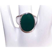 Vintage STERLING SILVER & Green Chrysoprase Signet Ring!