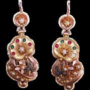 C.1880 MUSEUM QUALITY 14K Gold & Gemstone Drop Earrings with Original Box!
