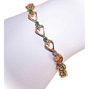 Vintage 14K Gold, .48CT TW Emerald & Diamond HEART Link Bracelet!
