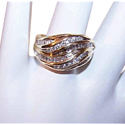 Vintage 14K Gold & 1CT TW Channel Set Diamond Ring!
