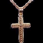 Vintage 14K Gold Cross Pendant - Light Engraved Design!