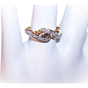 Vintage 14K Gold & .10CT TW Diamond Cross-Over Ring!