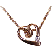 Vintage 14K Gold & .10CT Diamond Solitaire Heart Pendant!