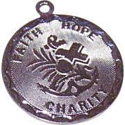 Vintage STERLING SILVER Disc Charm - Faith, Hope & Charity!