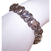 Vintage STERLING SILVER Double Link Charm Bracelet with Heart Top!