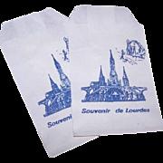 Pair of Vintage FRENCH Paper Bags - Souvenir of Lourdes!