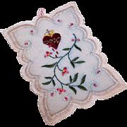 Vintage RELIGIOUS Agnus Dei Religious Sacramental or Devotional - Embroidered Sacred Heart!