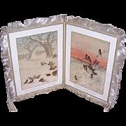 C.1882 LOUIS PRANG 2-Part Christmas Card - Chromolithographs & Silk Fringe!