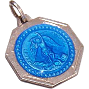Vintage FRENCH Silverplate & Blue Enamel Religious Medal/Charm - Saint Michael!