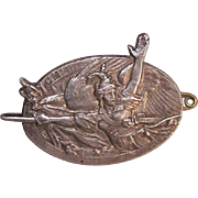 Vintage FRENCH Military Insignia - Metal Oval with Roman Soldier!