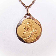Art Deco FRENCH 18K Gold Filled (ORIA) Religious Medal - Saint Theresa!
