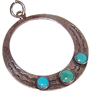Orphan STERLING SILVER & Turquoise Hoop Earring or Pendant!