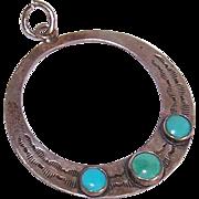 Orphan STERLING SILVER & Turquoise Hoop Earring or Pendant!