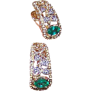 Vintage 18K Gold, .58CT TW Diamond & Emerald Screwback Earrings!
