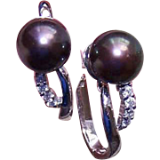 ESTATE 14K Gold, 7.5mm Black Tahitian Pearl & Diamond Earrings!