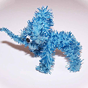 1950s MADE IN JAPAN Chenille Toy for Doll - Baby Blue Elephant!
