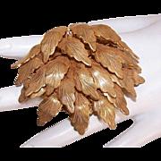 Vintage COSTUME Pin - MIRIAM HASKELL, Designer Signed, Gold Metal, Multi Leaf