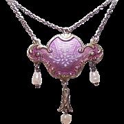 ART NOUVEAU Sterling Silver & Enamel Pendant Necklace!
