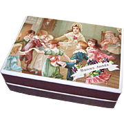 FRENCH EDWARDIAN Gift Box with Chromo of Children Dancing - Bonne Annee!