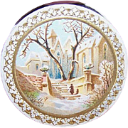 C.1900 FRENCH PILLBOX with Lovely Chromolithograph Top - Serene Winter Scene!
