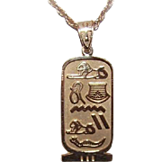 Vintage 14K Gold Egyptian Hieroglyph Cartouche Pendant - LONG LIFE to the Wearer!