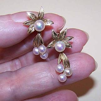 Vintage MIKIMOTO 14K Gold & Cultured Pearl Screwback Earrings!