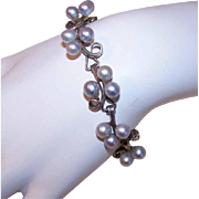 Vintage STERLING SILVER & Silver Grey Cultured Pearl Bracelet!
