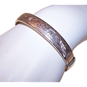 Vintage BRITISH Sterling Silver Hinged Bangle Bracelet with Engraved Top!
