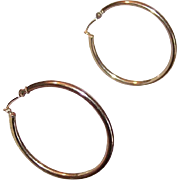 "Vintage 14K GOLD 1.25"" Hoop Earrings/Hoops!"