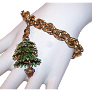 Vintage GOLD TONE METAL & Enamel Costume Bracelet with Articulated Christmas Tree!