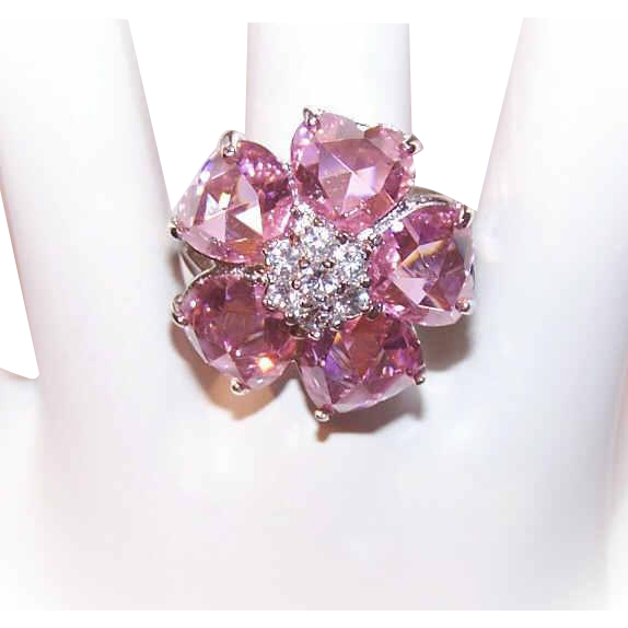 Vintage STERLING SILVER Ring - Vermeil, Gold Wash, Pink, Cubic Zirconia, Hearts