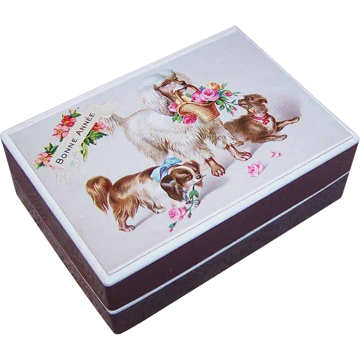 FRENCH EDWARDIAN Gift Box with Chromo of Dogs - Bonne Annee!