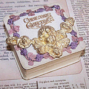 ANTIQUE EDWARDIAN Jewelry Box - Christmas Greetings!