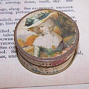 ANTIQUE EDWARDIAN Jewelry Box - Small Round with Gainsborough Portrait!