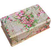 Vintage SHABBY CHIC Paper Jewelry Box/Trinket Box - Pink Florals!