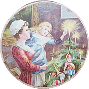 ANTIQUE VICTORIAN Paper Box with Christmas Graphics!