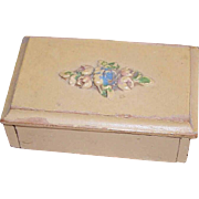 C.1930 SHABBY CHIC Wooden Stamp Box with Barbola Floral Lid!