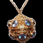 "Vintage 18K Gold & 12CT TW Aquamarine ""Sputnik"" Locket Pendant/Charm!"
