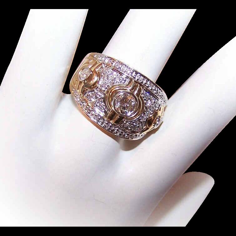 ESTATE 14K Gold & 1CT TW Diamond Cocktail Ring/Wedding Ring!