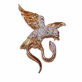 ESTATE 18K Gold, 1 CT TW Diamond & Ruby Pin - Eagle with Snake in its Claws!