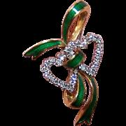 ESTATE 18K Gold, .50CT TW Diamond & Enamel Sweetheart Pin - Double Hearts with Ribbon!