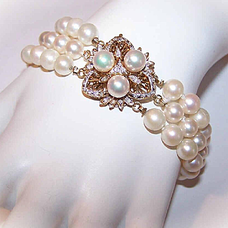 ESTATE 6.5mm Cultured Pearl Bracelet with 14K Gold, Diamond & Pearl Catch!