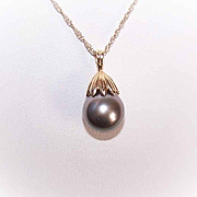 Vintage 14K Gold & 10mm Tahitian Black Pearl Pendant with Chain!