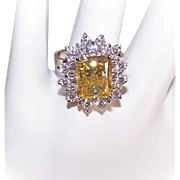 Vintage STERLING SILVER &  5.20CT TW Canary Yellow/White Rhinestone Fashion Ring!