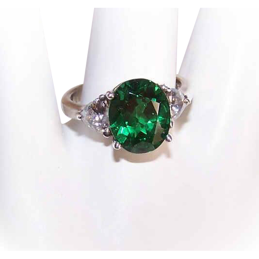 Vintage STERLING SILVER & Rhinestone Fashion Ring - White & Emerald Green Cubic Zirconia/CZ!