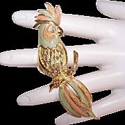 Vintage Gold Tone Metal & Cold Enamel Costume Pin - Pastel Parrot!