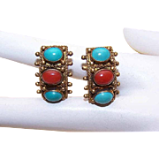 Vintage MIDDLE EAST Costume Earrings with Faux Turquoise & Red Coral Cabs!