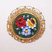 Vintage GOLD TONE Metal & Glass Micromosaic Pin/Brooch from Italy!